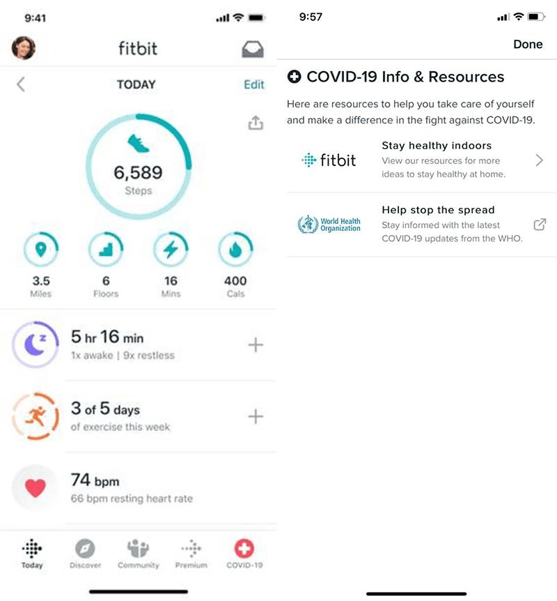Fitbit app COVID-19 app