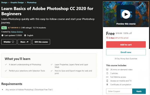 [100% Off] Learn Basics of Adobe Photoshop CC 2020 for Beginners| Worth 79,99$