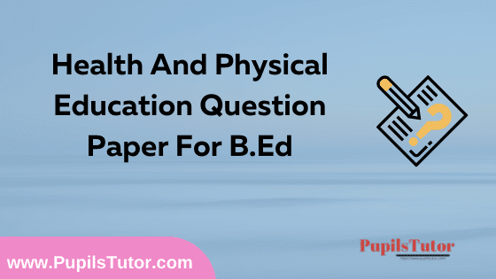 Health And Physical Education Question Paper For B.Ed 1st And 2nd Year And All The 4 Semesters In English, Hindi And Marathi Medium Free Download PDF | Health And Physical Education Question Paper In English | Health And Physical Education Question Paper In Hindi | Health And Physical Education Question Paper In Marathi