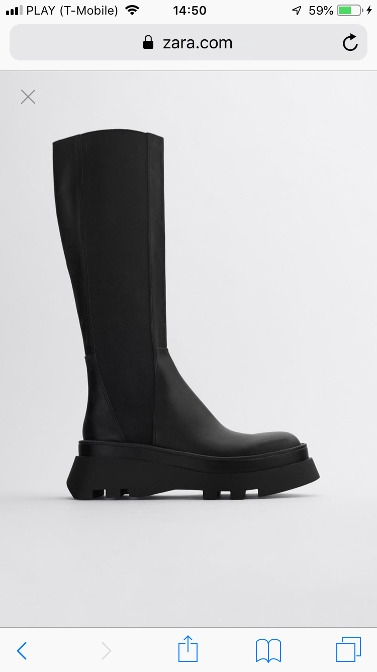 Zara Leather High Heavy Boots