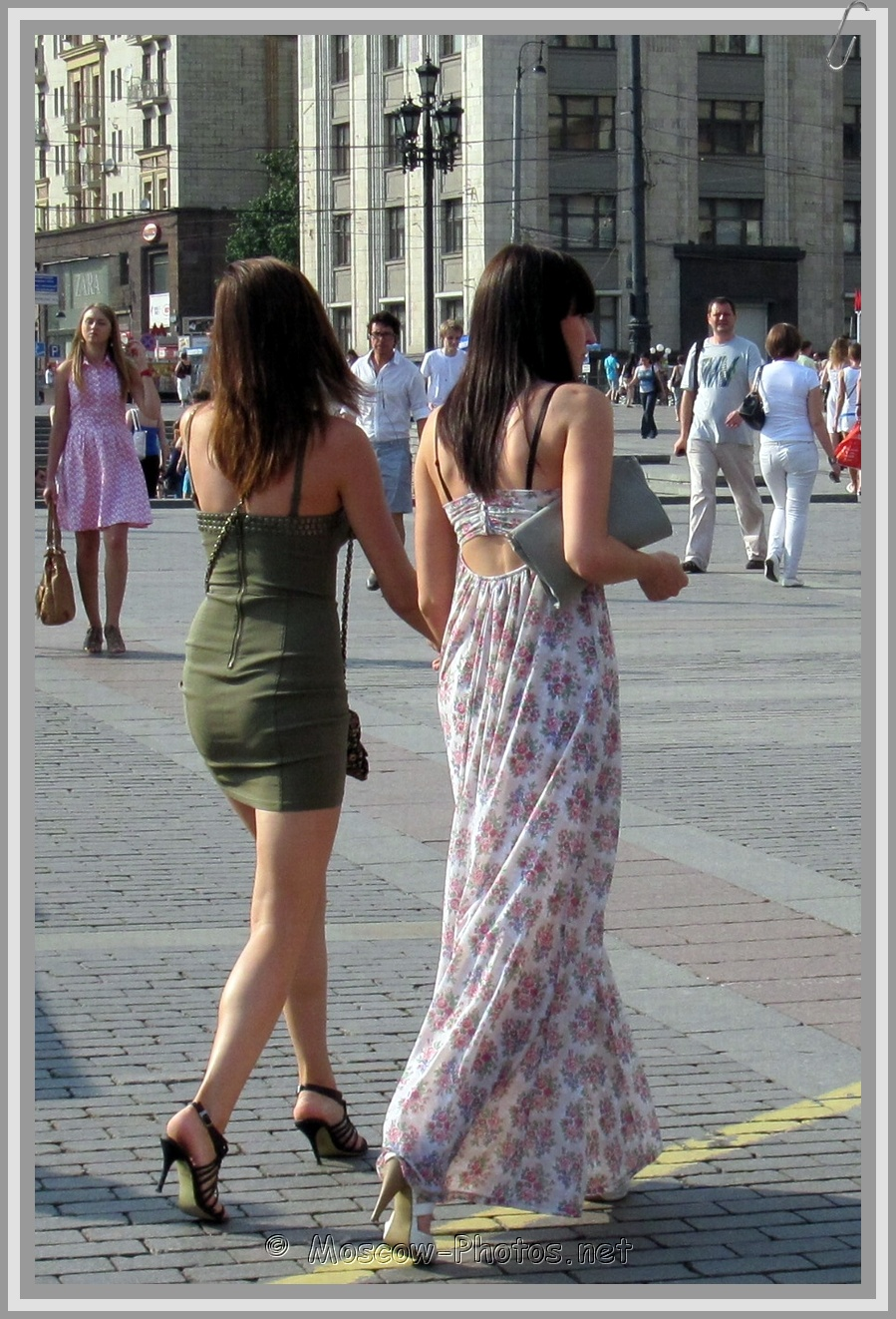 Friendly Rivalry - Summer Tight Mini Dress and Summer Subtle Floral Wide Maxi Dress
