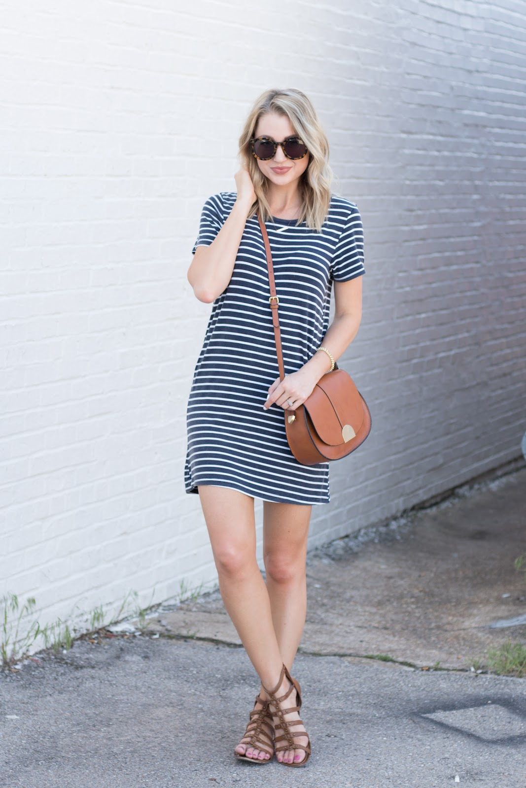 Striped t-shirt dress with gladiator sandals