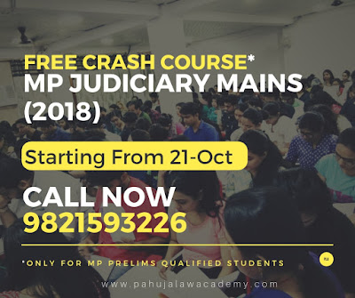 Free Crash Course* For MP Judiciary Mains(2018) Starting From 21st October - PLA