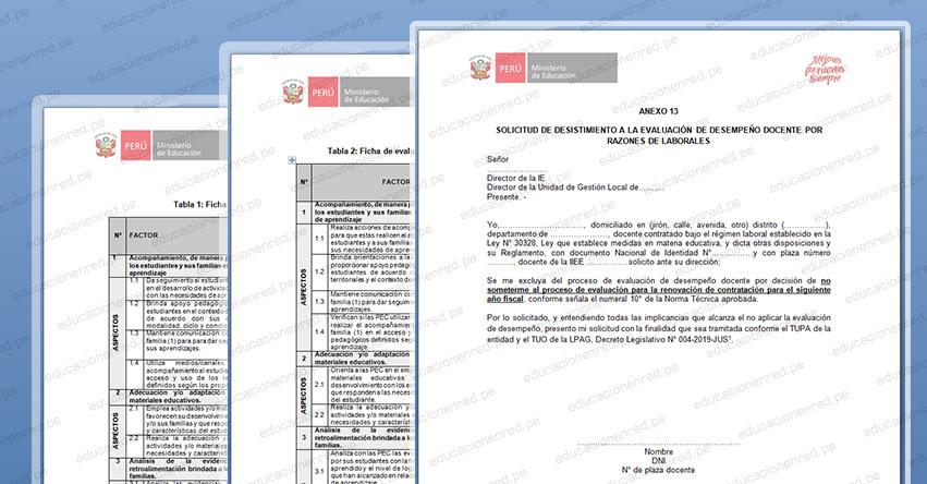 CONTRATO DOCENTE 2021: Formatos de Evaluación para la Renovación de Contrato Docente (Anexo 12, 13)