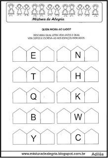 Atividade com letras do alfabeto -vizinhos