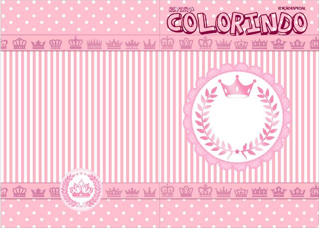 Imprimible carátula de libro para colorear de Corona Rosada.