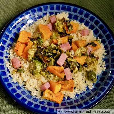 image of leftover ham cubes roasted with brussels sprouts and butternut squash