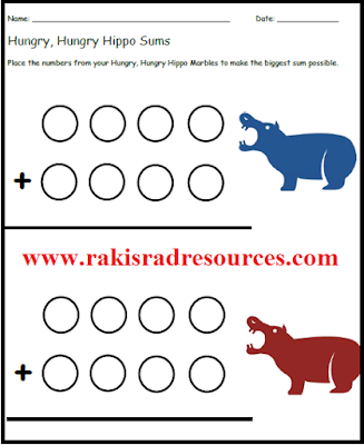 Free hungry hungry hippo sheet for a math center on addition with regrouping. Free download from Raki's Rad Resources.