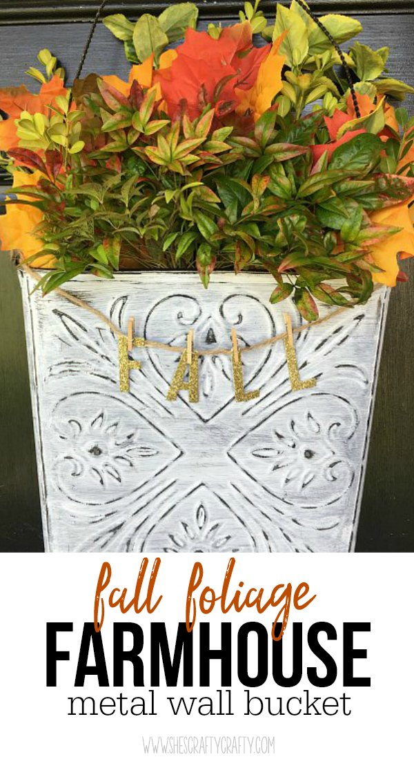 fall leaves, bush clippings, metal wall bucket, gold glitter letters