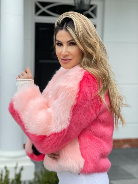 Two Tone Faux Fur Jacket