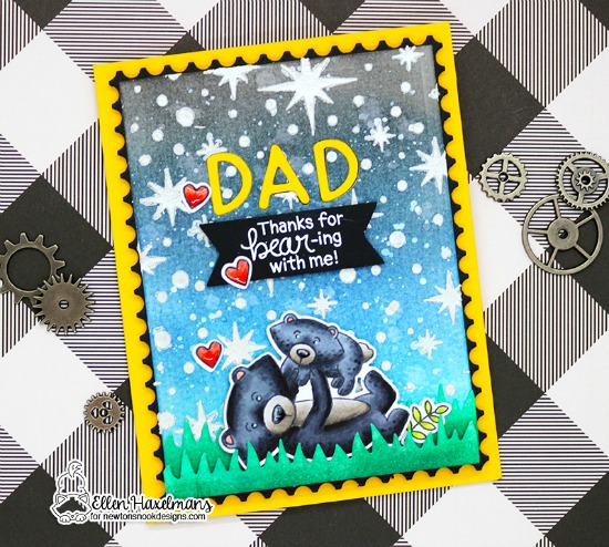 Father's Day Bear Card by Ellen Haxelmans | Papa Bear Stamp Set by Newton's Nook Designs #newtonsnook #handmade
