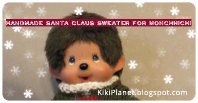 kiki monchhichi noel christmas pull tricot knitting handmade fait main doll poupée