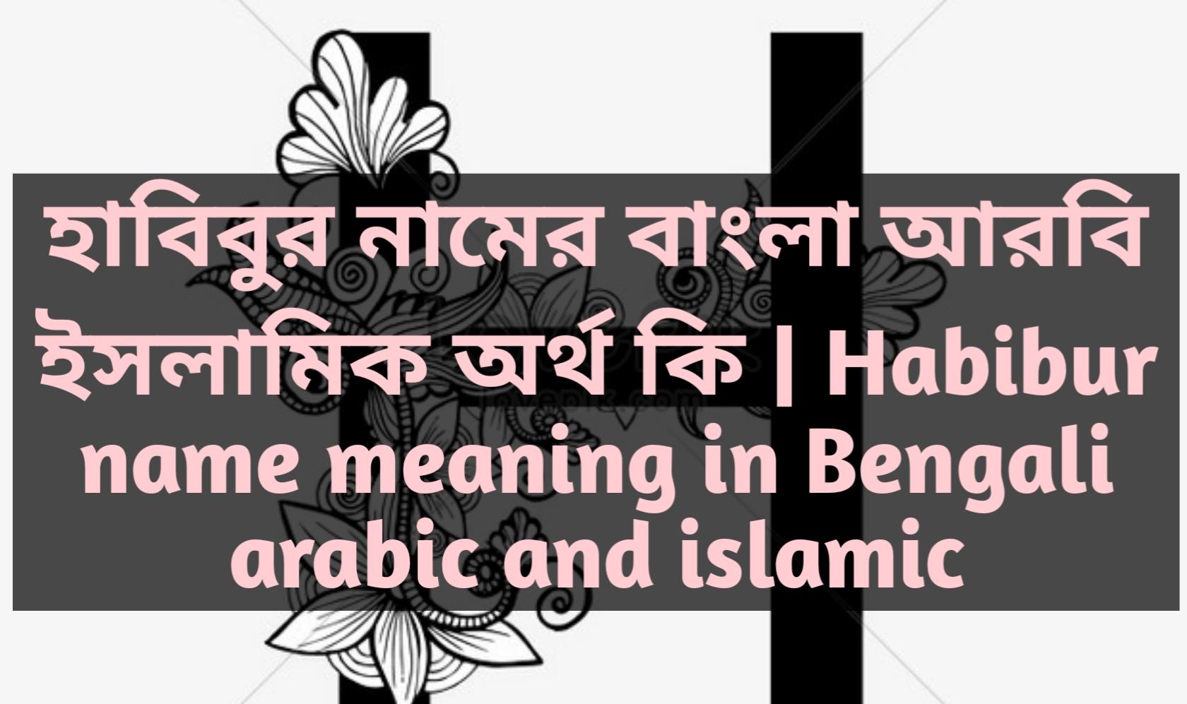 habibur name meaning in Bengali, হাবিবুর নামের অর্থ কি, হাবিবুর নামের বাংলা অর্থ কি, হাবিবুর নামের ইসলামিক অর্থ কি,