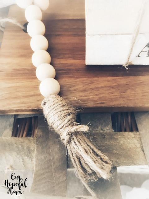 wood bead decor twine jute tassel