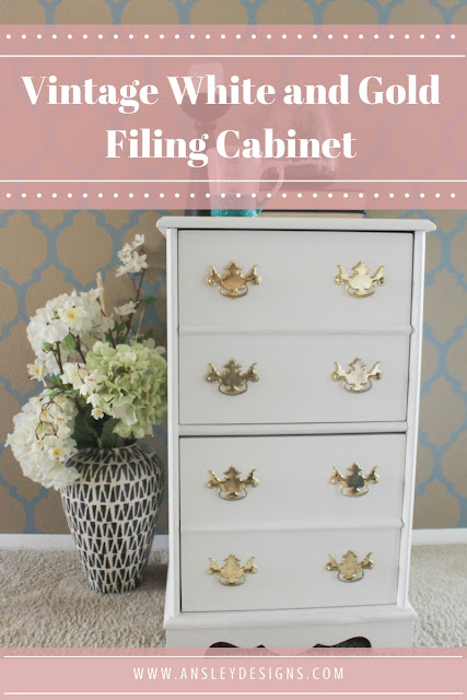 DIY Vintage white and gold painted filing cabinet.