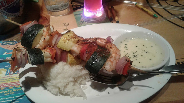 Shrimp and veggie skewers at Bubba Gump Shrimp Co