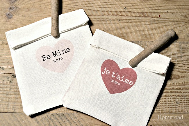 Valentine Heart Bags with clothespins