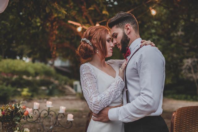 vestido novia color nude - editorial boda de invierno