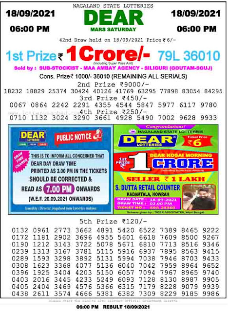 Nagaland State Lottery Result 18.9.2021 Today 6pm