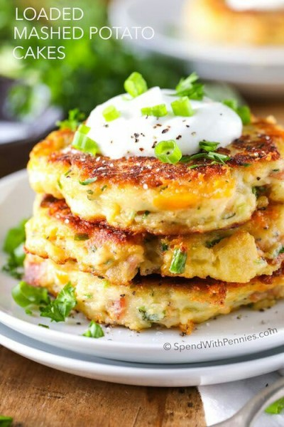 Loaded Mashed Potato Cakes. Foto: SpendWithPennies.com