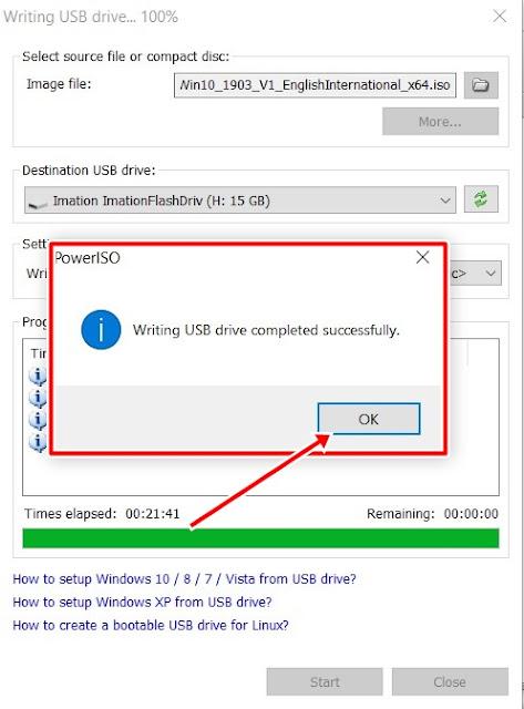 رسالة اتمام حرق نسخة الويندوز بنجاح علي برنامج poweiso