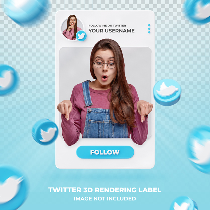 Banner Icon Profile On Twitter 3D Rendering Label Template