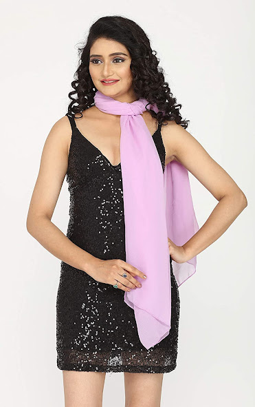 Lilac Long Chiffon Scarves Shawls