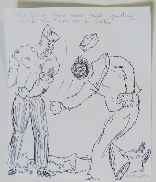 """The Gunny conducting Squid counseling outside the Texas bar in Naples"" - a 1975 drawing by Florencio Lennox Campello"