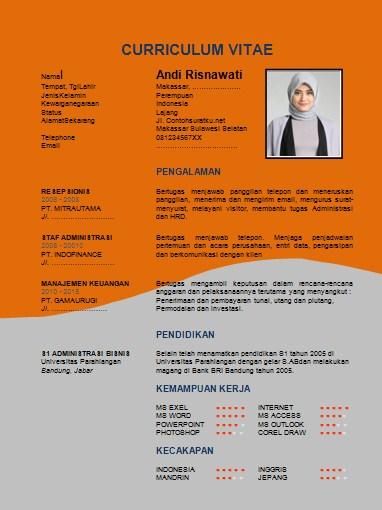 Contoh CV Daftar Riwayat Hidup yang Rsmi, Menarik & Penuh Kreasi Format Word