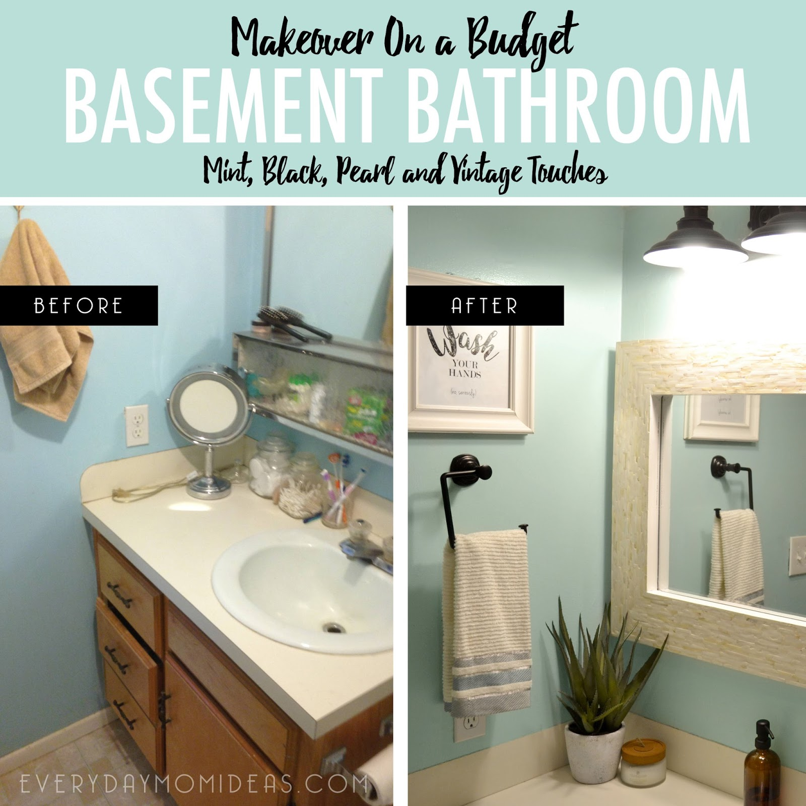 Unique  accents throughout including the light fixture towel holder wall mounted storage rack frosted glass shelves and even the amber glass soap dispenser