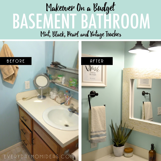 Before And After Bathroom Makeovers On A Budget: Basement Bathroom Makeover On A Budget (Mint, Black, Pearl