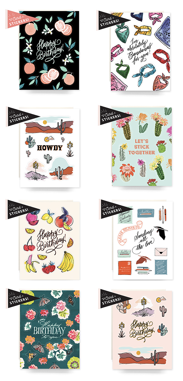 Assortment of Sticker Greeting Cards