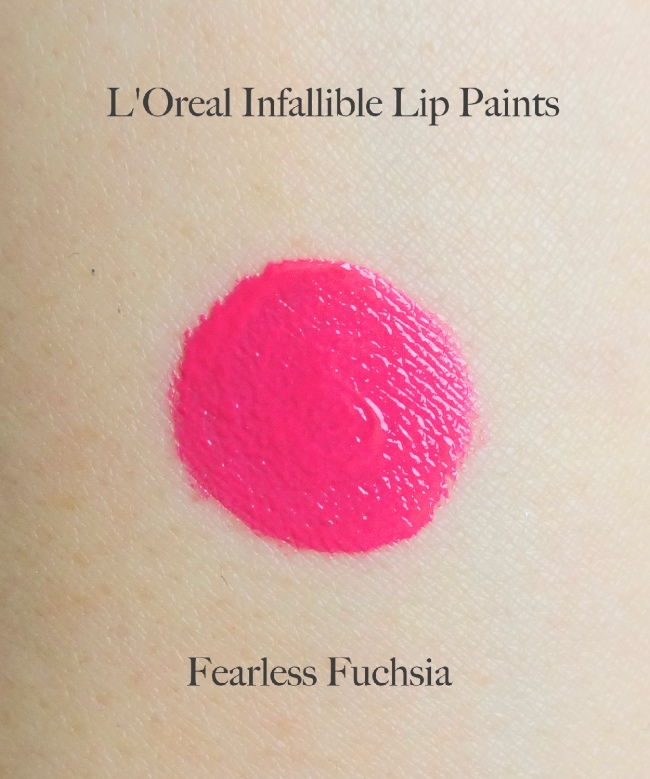 L'Oreal Infallible Lip Piants Fearless Fuchsia swatch