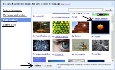 Select Background Image for Google Homepage
