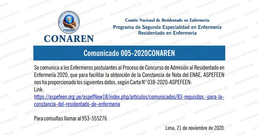 CONAREN: Constancia Residentado de Enfermería (Trámite Constancia de Nota del ENAE, ASPEFEEN 2020)