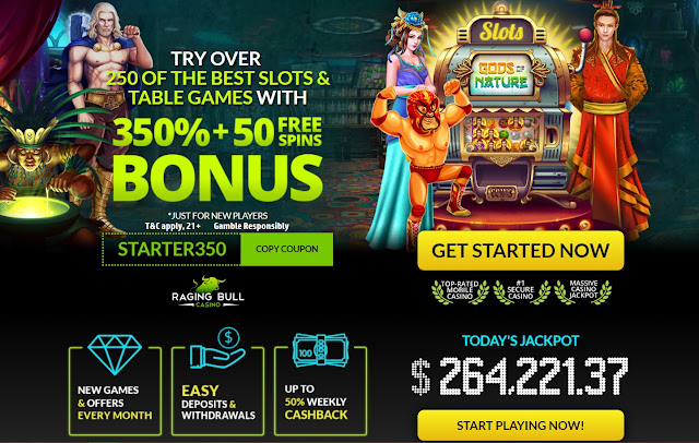 Raging Bull casino 350% welcome bonus and 50 free spins