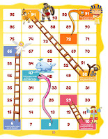 A printable snakes and ladders game
