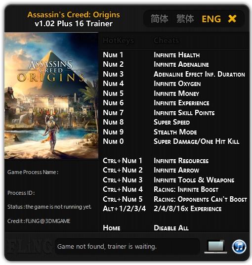 Image result for Assassin's Cread Origins Trainer filing