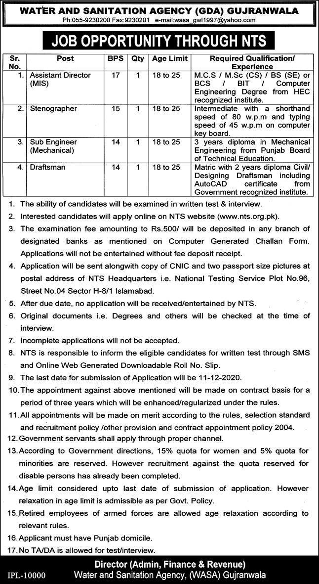 NTS WASA Jobs 2020   Latest WASA Jobs 2020 Announced For Male & Female  Gujranwala