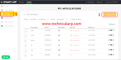 Click on My Apps > Add New App - Technical Arp