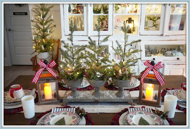 Cottage -Farmhouse- Christmas- Dining -Room -Tree-Centerpiece-lanterns-transferware-fairy-lights--Tablescape-From My Front Porch To Yours