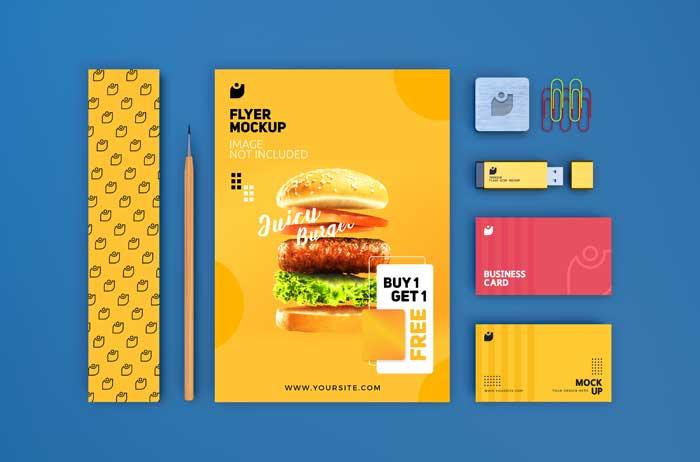 High Quality Branding Stationery Flyer PSD Mockup