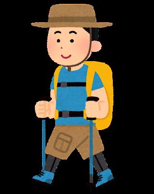 トレッキングをしている人のイラスト(半袖の男性)