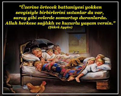 """""""Üzerine örtecek battaniyesi yokken sevgisiyle birbirlerini ısıtanlar da var, saray gibi evlerde somurtup duranlarda. Allah herkese sağlıklı ve huzurlu yaşam versin."""" (Şükrü Aygün), mutluluğun resmi, mutluluk, aile, iyi aile, aile şerefi, aile bağları, mutlu aile, tavuk, tablo, güzel sözler, özlü sözler, anlamlı sözler, günün sözü,"""