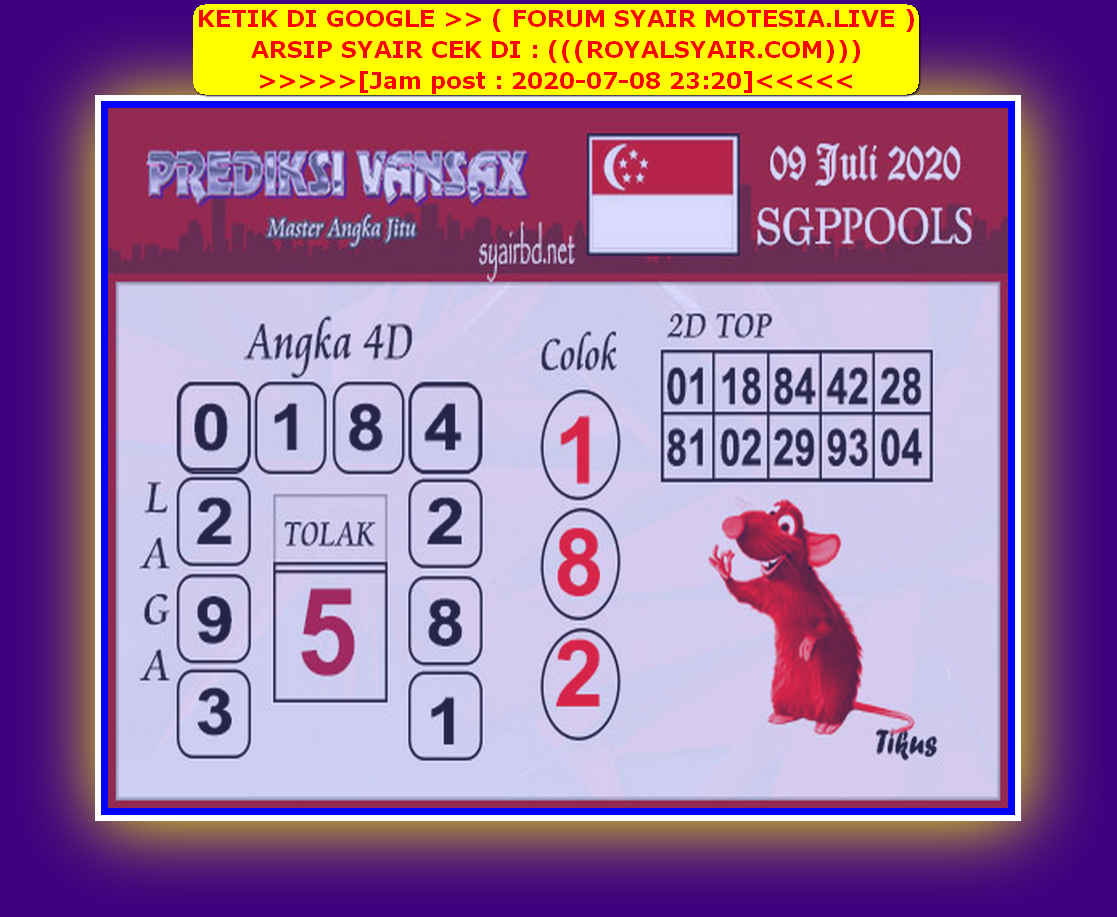 Kode syair Singapore Kamis 9 Juli 2020 226