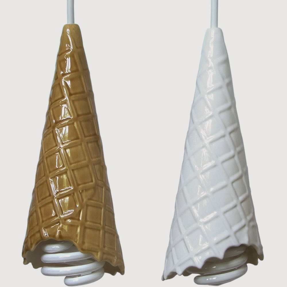 To da loos: Waffle cone ice cream cone light pendants