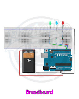 Arduino Project Run and off red, blue and green LED sequentially