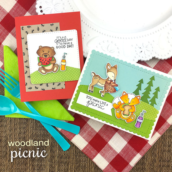 Picnic Critters Cards by Jennifer Jackson | Newton's Picnic Stamp Set, Forest Scene Builder and Land Borders Die Set by Newton's Nook Designs #newtonsnook #handmade