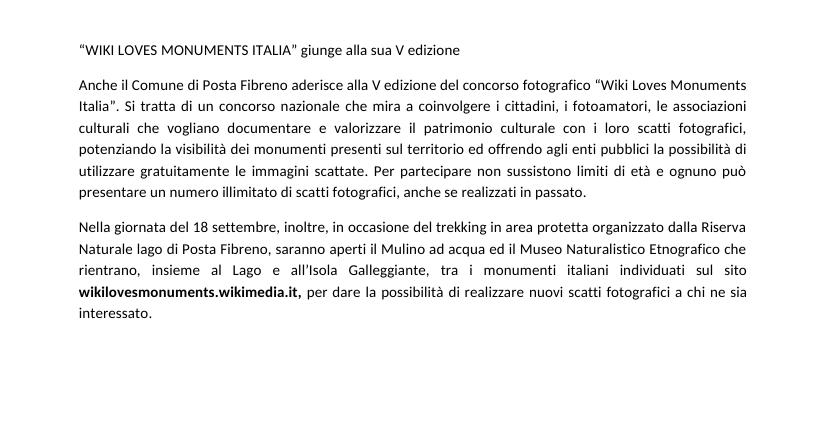 Posta fibreno aderisce al 5^ concorso fotografico wiki loves monuments italia