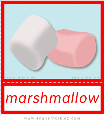 marshmallow, Christmas food flashcards